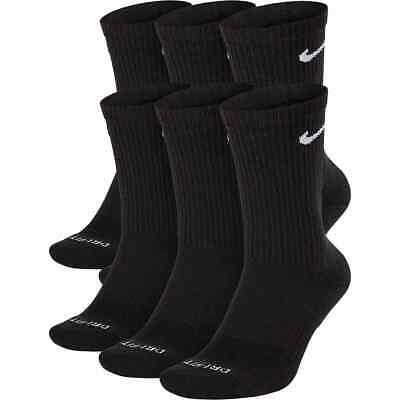 Nike Men's Everyday Plus Cushioned Crew 6 Pack Socks Black SX6897-010 d Size L