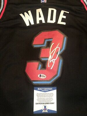 timeless design 5451c 3d5ac DWYANE WADE BLACK Vice Miami Heat Signed Jersey Auto Beckett Bas Coa