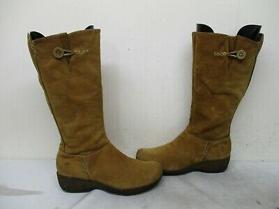 b2673ee32fdd1 Timberland Brown Nubuck Leather Zip Mid Calf Boots Womens SIze 7.5 M Style  65339