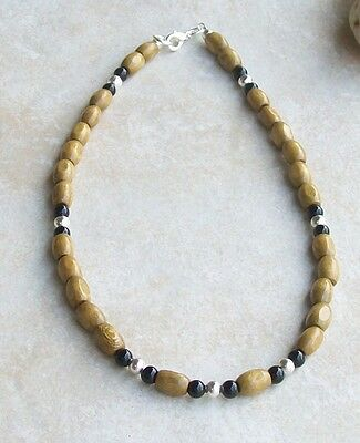 """Mens 19"""" Beaded Necklace Handmade Brown Wood, Black Onyx, Silver Plated Beads"""