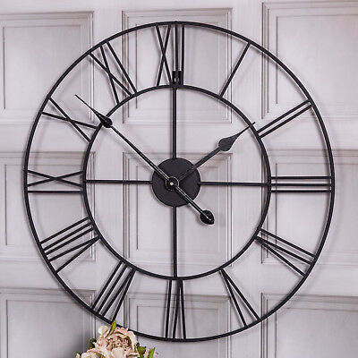 Large Black Skeleton Wall Clock Retro Industrial Vintage Chic Style Home Decor