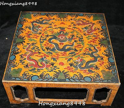 Old China Wood lacquerware Carving Dragon Dragons loong Beast Table Desk Tables