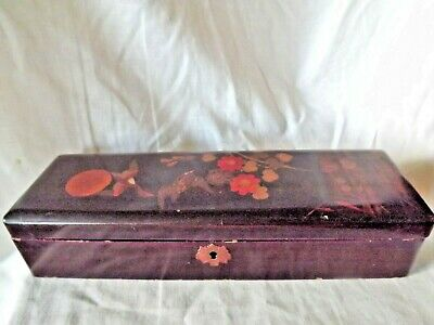 Vintage Japanese Black Lacquer Box with Birds & Flowers on the Lid