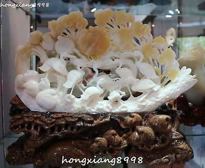 Exquisite Tridacna Giant Clam Purple Shell Red-crowned Crane Peach Ruyi Statue