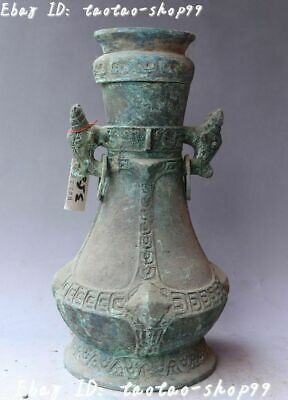 China Ancient Bronze Ware Vessels Dragon Beast Handle Vase Bottle Pot Jar Statue