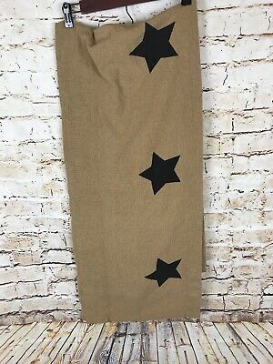 Navy Stars Valance Rustic Farmhouse Primitive Hand Crafted Burlap Natural Cotton