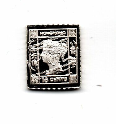 HONG KONG 1879 Solid Silver Proof Miniature Stamp Hallmarked 1982