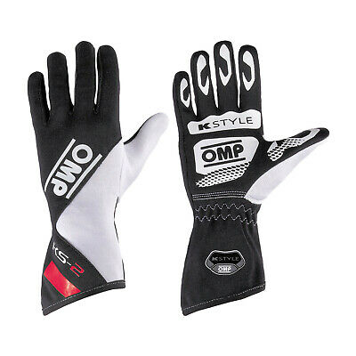 OMP KS-2 Black - White - Red Gloves - Genuine - XXS