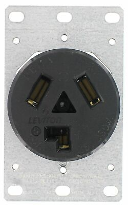 Leviton 800-05207 Dryer Receptacle 30 Amp 125/250V Flush Mount Black, QTY 1