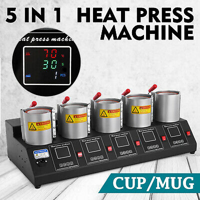 5 in 1 Digital 5 Cup Mug Heat Press Machine 1500W 110V/60 Hz 11/15/16 oz