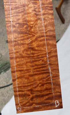 """Figured / quilted sapele electric guitar neck blank 3-3.9x27.9"""" SN38"""