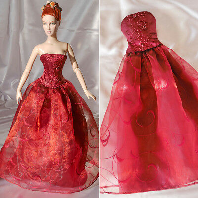 """Long redwine gown with ornamental bead embroidery, outfit for 16"""" Doll as Tyler"""