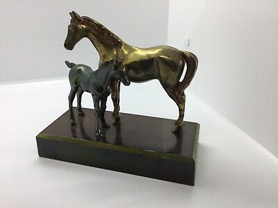 vintage bronze effect metal horse and foal ornament