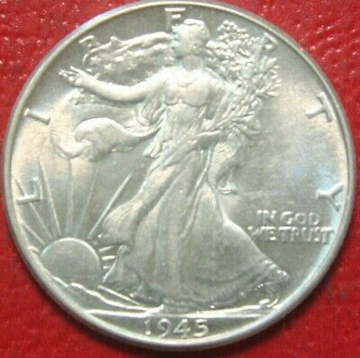 1945 Walking Liberty Half Dollar , UNCIRCULATED , 90% Silver US Coin