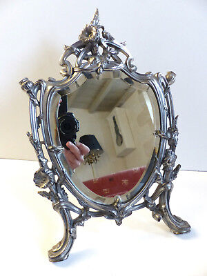 SUPERB ANTIQUE FRENCH ART NOUVEAU METAL TABLE VANITY MIRROR 1890's