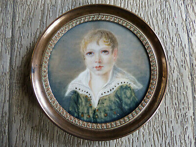 SUPERB ANTIQUE LATE 18th CENTURY MINIATURE PORTRAIT OF A BOY 1790's