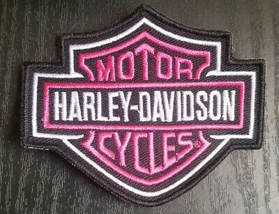 """Harley Davidson Motorcycles Small Patch Bar Shield Pink and Black 3.5""""x2.75"""""""