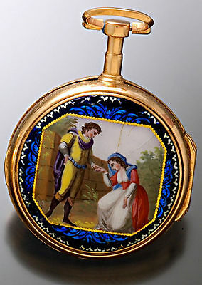 Scarce Antique Verge Fusee Enameled Case Pocket Watch Ca1795 | Painted Dial