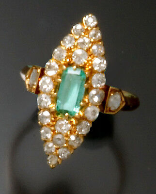Victorian 18K Gold Diamond & Emerald Ring Navette Shape from 1890 Size 7