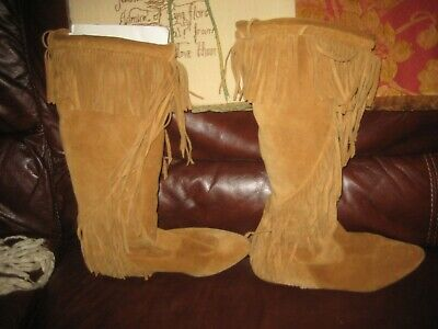 43bcfbc315c8 SAM EDELMAN UTAH Womens Size 9.5 Brown Fringe Boots Suede Pull On Knee High  Boho -  28.00
