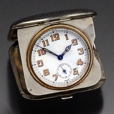 Art Deco Niello Enamel Silver Travel Clock Ca1920