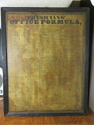 Antique Vintage Framed Physicians Office Formula Drug Prescription Doctor Poster