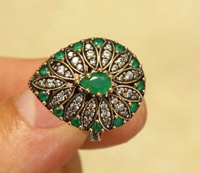 Vintage Art Deco Green Emerald , White Sapphire Ring Sz.7.25 Sterling Silver 925