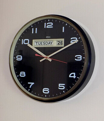 Vintage Metamec Day Date Electro Mechanical Wall Clock - Jaz Movement - Working