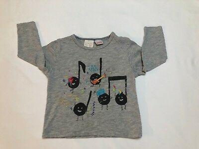 Baby Boy Zara Top Light Gray Rock Star Tee Shirt Long Sleeves 9/12 Months