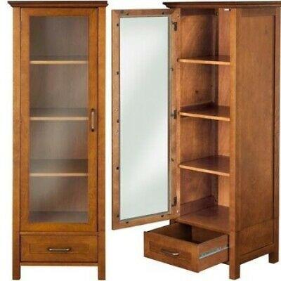 09705301342 Tower Linen Cabinet Oil Oak Furniture Shelves Bathroom Kitchen Traditional  Rack