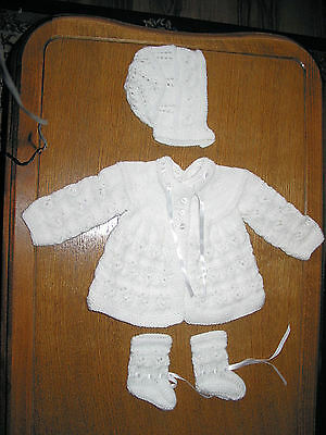soft white matinee set new 0 to 3 months hand knitted  new