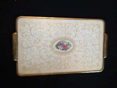 Vintage Pettit Point, Pretty Flowers,vanity Tray,brass Metal Mounted,32.5Cm Long