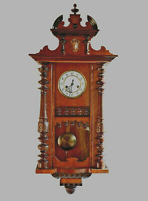 Antique Victorian  Carved Wall Clock with Gustav Becker Silesia P45 movement