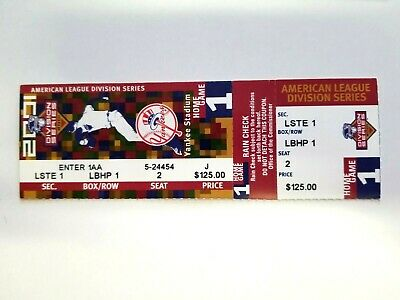 2001 American League Division Series NY Yankees Game 1 Ticket, Mayors Seat LSTE1
