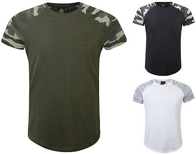 Mens Crosshatch Contrast Camo T-Shirt Raglan Short Sleeve Tee Branded Army Top