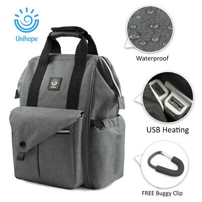 Mammy Large Capacity Baby Diaper Nappy Changing Bag Travel Backpack USB Heating