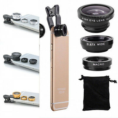 Universal 3 In 1 Wide Angle Macro Quick Camera Lens Kit For Smart Phone NEW #KM