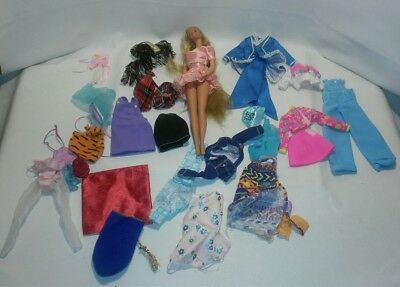 ☆ Vintage Lot Barbie Long Hair Doll And Cloths ~ Free Shipping
