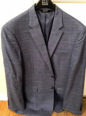 Jos A Bank Men's Classic Collection Traditional Fit Blue Plaid Sportcoat, 44L