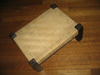 "Vtg Antique Mission Wood Arts Crafts Oak Footstool Stickley Style Stool ""Burns"""