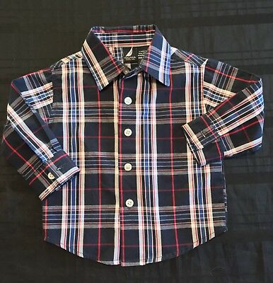 Nwot Nautica Baby Boy Stripe Button Down Long Sleeve Shirt Size 6-12M