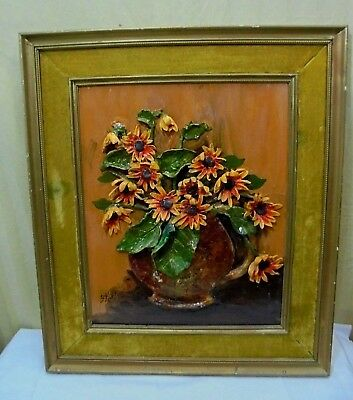 """VTG Signed Florence Kohl Framed Sculped Applied Daisy Oil Painting 18"""" x 21"""""""