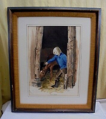 1977 Original Signed D.L Bron Boy & Horse Barn Watercolor Framed Painting 19x23