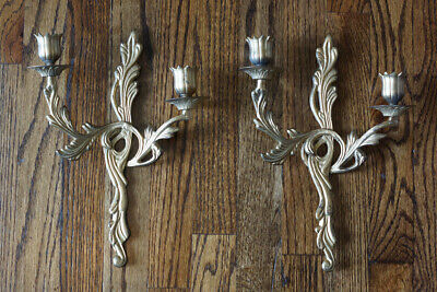 Set of 2 Vintage Antique Finish Gold Metal Wall Sconce Candle Holders