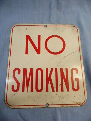 """Vintage Metal """"No Smoking"""" Red Lettering On White Sign! 8"""" X 9"""""""