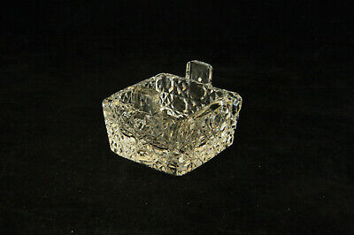 Unusual Antique Cut Glass Square Cane Motif 2 Handled Open Salt Cellar Dip Dish