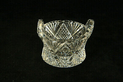 Unusual Vintage Cut Glass Round Diamond & Fan 2 Handled Open Salt Cellar Dip