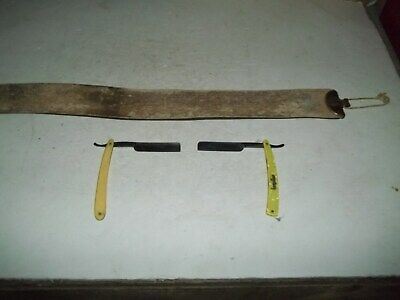 Two Vintage Straight Razors And One Vintage Strop