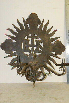 Antique wrought iron candle wall sconce,2 scokets, Jesuit symbol,19th C or older