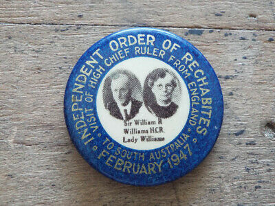Antique Religious Independent Order Rechabites Pinback Button Pin England 1947